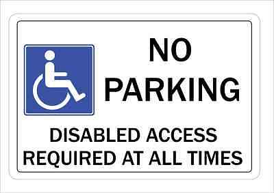 No Parking Disable Access Parking SIgn Wall Plaque Aluminium
