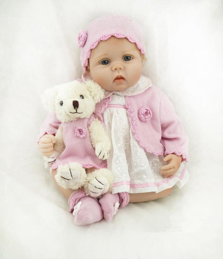 Nuevo Hermoso Bebé Reborn Muñeco Blando Silicona Vinilo 22 pulgadas paño cuerpo rosado Conjunto