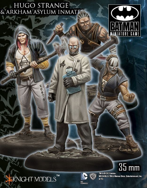 Hugo Strange and Arkham Asylum Immates 1 3 8in Batman Miniature Game Knight