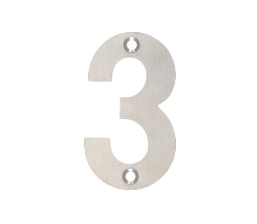 Stainless Steel Number /'3/' for Doors 75mm by Zoo Hardware ZSN03ASS