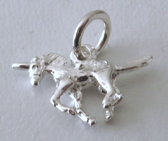 GENUINE SOLID 925 STERLING SILVER 3D UNICORN ANIMAL Charm/Pendant