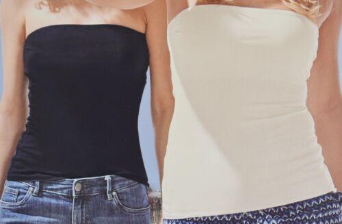 2er Set BANDEAU TOPS mit Elasthan T-Shirt Top Slim Rosa Blau Weiß 36 38 40 42 44