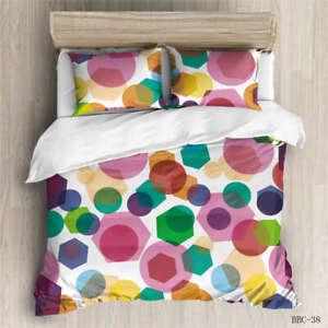 Colorful Dots 3D Quilt Duvet Doona Cover Set Single Double Queen King Print