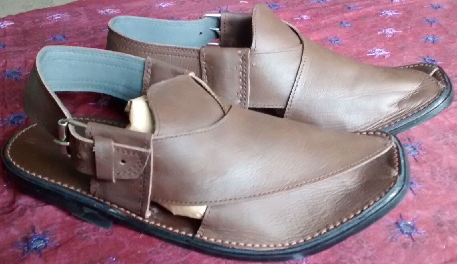 Mens Peshawari Handmade Pak Leather Chappal Dark Brown Eid Sandal UK size 7 & 8