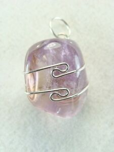 .8 in/21mm Ametrine Sterling Silver wire wrapped Pendant #726