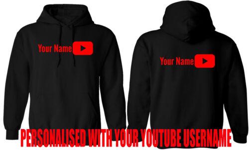 Felpa con cappuccio youtuber personalizzati aggiungere il nome utente di YouTube Adulto Bambino Regalo Top