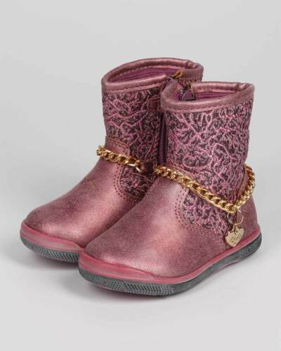New Girl DG64 Top Rose Jacquard Round Toe Charm Chain Motorcycle Boot 4-8