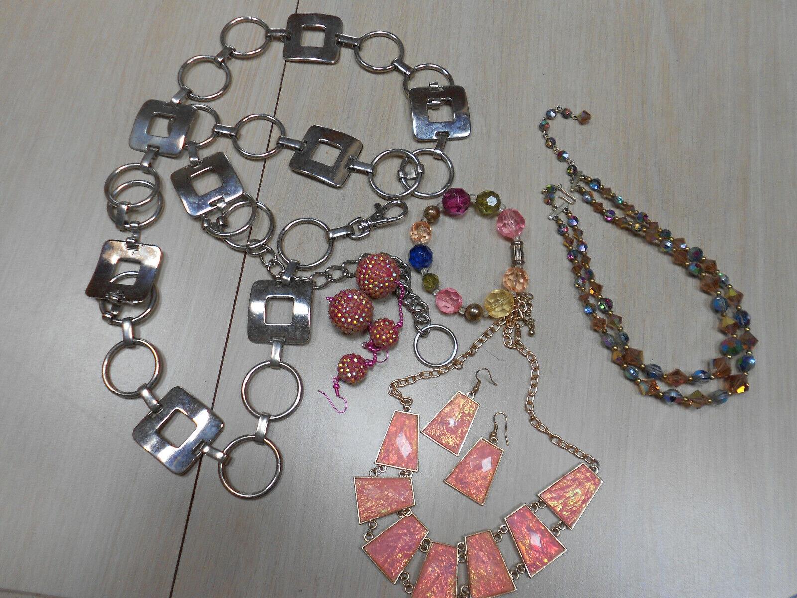 Lot 4 costume jewelry lot silver belt earrings ne… - image 1