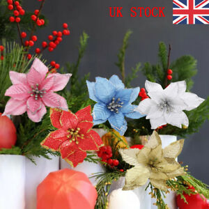 10-Pcs-Glitter-Poinsettia-Flower-Christmas-Wreath-Tree-Decorations-Xmas-Gift-UK
