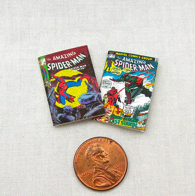 2 Miniatura Spider Man Fumetto Libri Casa Delle Bambole Readable 1:12 Scala