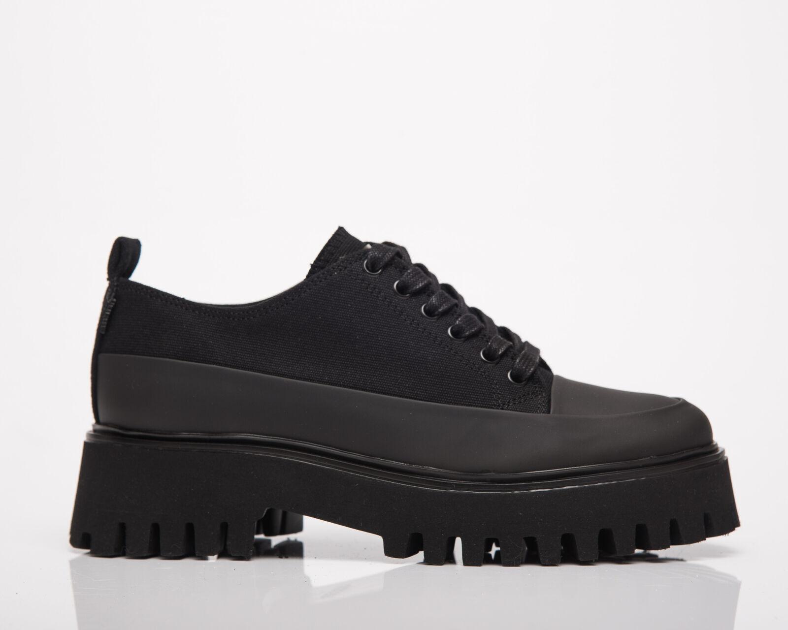 BRONX Groov-Y Lace Up Canvas Femmes Noir Bas Décontracté Vie Bottes Chaussures