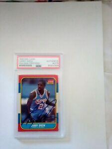 1986-87 Fleer autograph Larry Drew autographed auto Kings PSA Authenticated