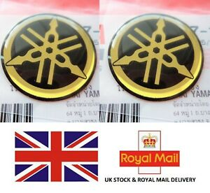 2 X 45mm Yamaha Tuning Fork Black Gold Gel Decal Sticker Badge Logo Uk Stock Ebay