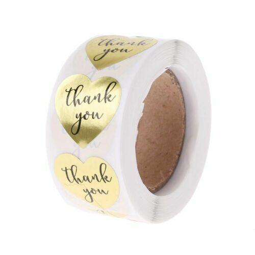 """500Pcs Thank you Sticker Adhesive Labels Roll Heat-Shape Package Tags 1/"""" Inch"""