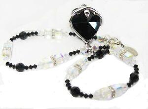 Jet-Black-Swarovski-Element-Heart-pendant-18-034-Necklace