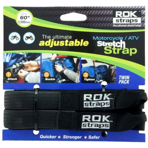Oxford Motorcycle ROK Straps HD 25mm Adjustable Reflective Black Pair ROK025 T