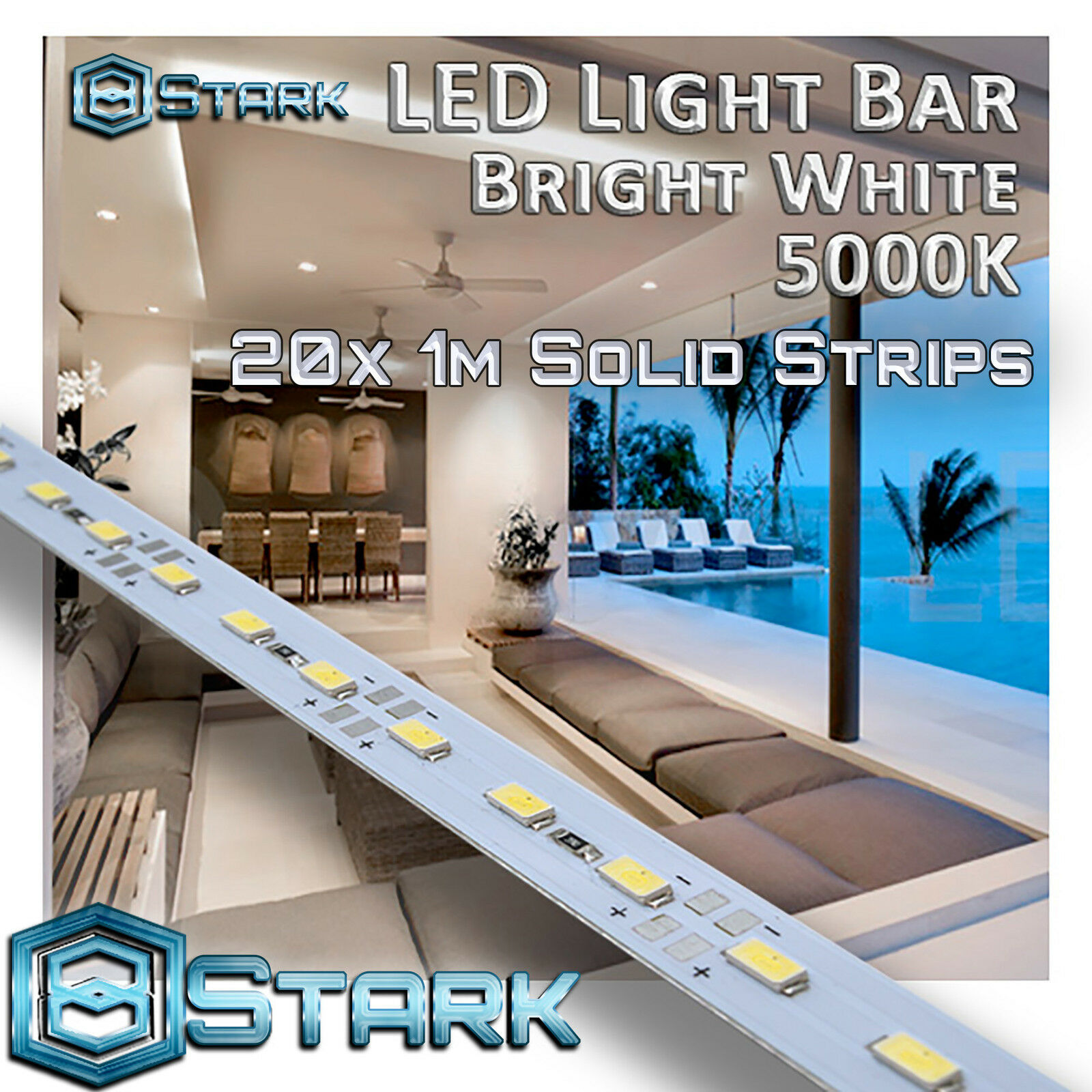 1M 3.3FT Pure blanco 72 LED 5630SMD Strip Light Aluminum Case Display Cabinet x20