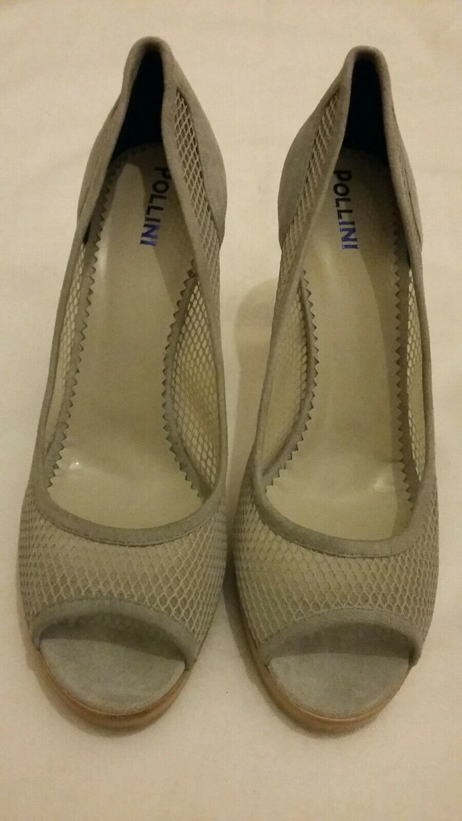 POLLINI Suede Lace - Mesh High Heel Platform Peep Toe shoes Grey Size uk 7 eu 40