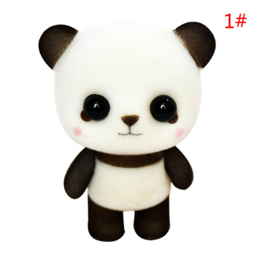 Cute flocking doll toys mini panda decoration toys exquisite dolls gifts