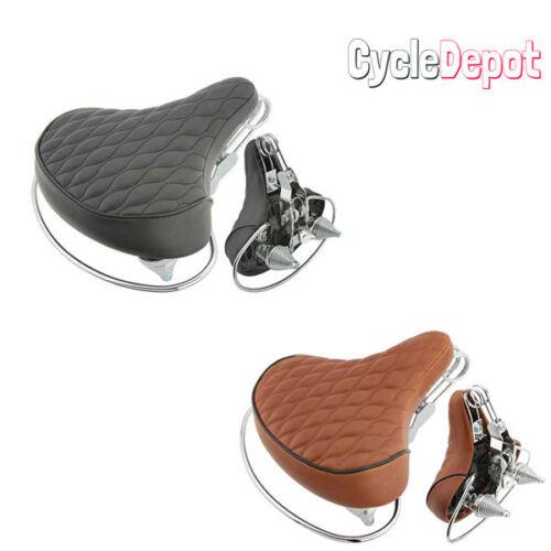 Velo Beach Cruiser Chopper Saddle Bicycle Seat Diamond Stitched Web Spring Bike