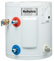 Electric Water Heater Compact Reliance 6 Gallon Side Plumbing Easy Installation