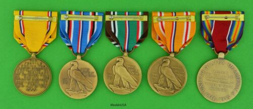 Pearl Harbor to WWII Victory full size European /& Asiatic Campaign 5 Medal set
