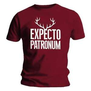 Officiel-Sous-Licence-HARRY-POTTER-Spero-patronum-Bois-Tee-shirt-homme-bordeaux