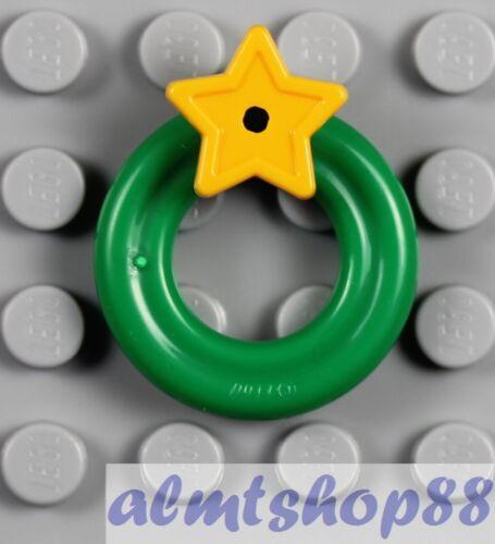 LEGO Minifigure Christmas Santa Tree Gift 1x Green Wreath w// Yellow Star