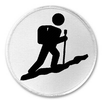 "3/"" Sew Iron On Patch Mountain Trail Hiking Hike Hobby Outdoors Hiker Icon"
