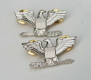 PAIR-WW2-WWII-US-ARMY-COLONEL-EAGLE-WAR-BIRD-DEVICE-PIN-BADGE-INSIGNIA-31925