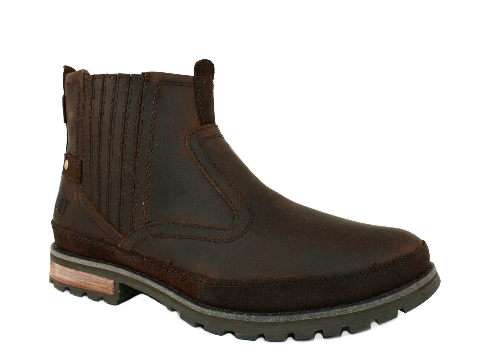 Caterpillar  RIVINGSTON  Mens  Casual Work  Dark Brown Leather Boots