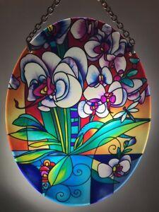 Joan Baker Designs Hand Painted Suncatcher-SFS2001-Blue Butterfly Art Glass