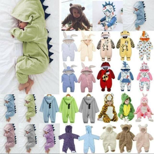 Newborn Baby Boys Girls Hooded Jumpsuit Romper Dinosaurs Warm Bodysuit Costume