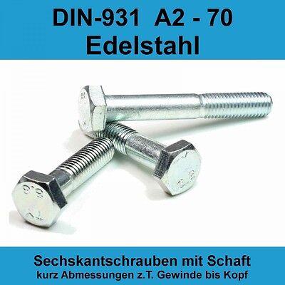10 Stück Sechskantschrauben DIN 931 mit Schaft M5X25 Edelstahl A2 Teilgewinde