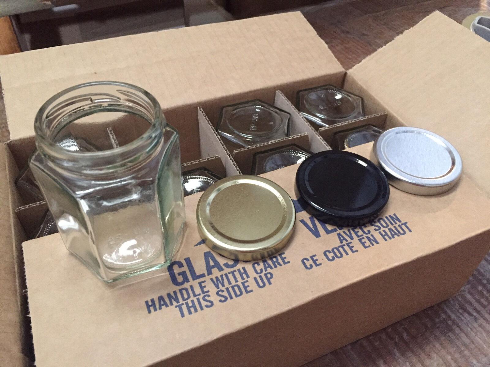 Lot 120 hexagonal (Hex) pots de verre bougies JELLY JAM 6.4 oz (environ 181.43 g) avec étanchéité Couvercles