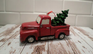 Old Red Truck With Christmas Tree In Back.Details About Red Old Style Truck With Christmas Tree In Back Tree Ornament Home Decor Display