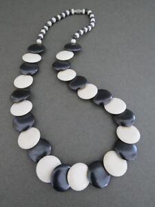 Vintage-Danish-Modernist-Necklace-Black-White
