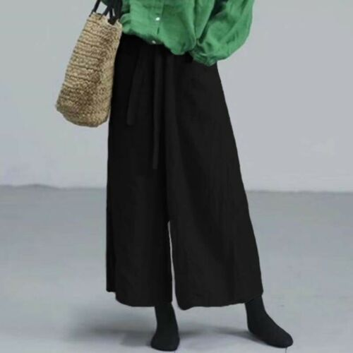 ZANZEA Women Oversized Casual Loose Palazzo Pants Ladies Lace-up Long Trousers