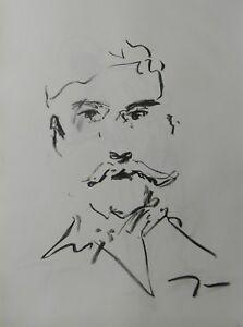 JOSE TRUJILLO MODERN Contemporary ORIGINAL CHARCOAL DRAWING OLDER MAN Minimalist