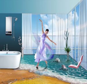 3D Beach Dolphin 499 Floor WallPaper Murals Wall Print Decal AJ WALLPAPER CA