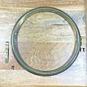 Old Brass Clock Bezel 8 1/2 Inch Diameter with Glass and Catch (K5187)