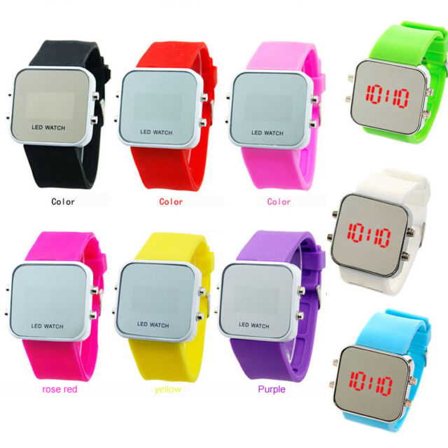 Hot Unisex Mirror Led Digital Watch Silicone Sport Time Date For Kids Students