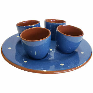 Dartmouth-Pottery-Devon-England-Polka-Dot-Plate-amp-4-Small-Cups