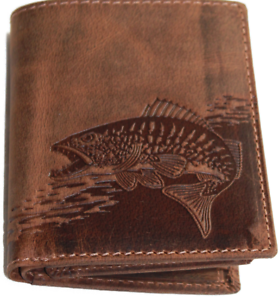 Zander-Fisch-Angler-Geldboerse-Naturleder-Geldbeutel-Rindleder-Rustikal-Portmonai