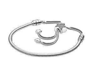 Authentic Pandora #598528 Moments Pave Star Snake Chain Sliding Bracelet