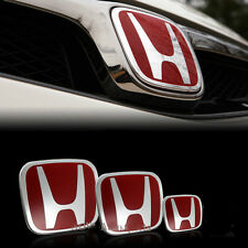 3 Set Red JDM Honda Civic Front+Rear+steering wheel Emblem 06-15 Sedan Si Dx
