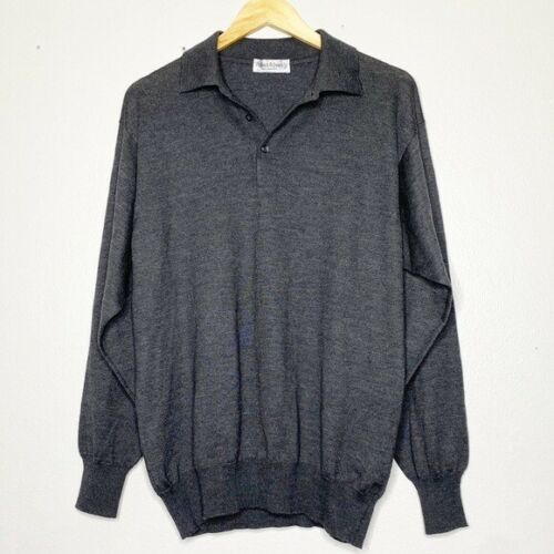 Bullock&Jones Gray Wool Collared Sweater Size Larg