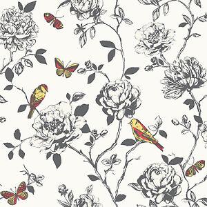 amour schwarz und wei blumenmuster rot gelb schmetterling v gel tapete 204322 ebay. Black Bedroom Furniture Sets. Home Design Ideas