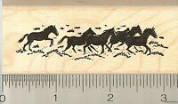 Herd Of Horses Rubber Stamp G9202 Wood Mounted