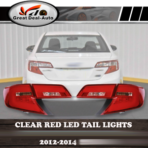 Clear-Red-LED-Tail-Lights-For-Toyota-Camry-MY12-MY15-Sedan-2012-2013-2014-Pair